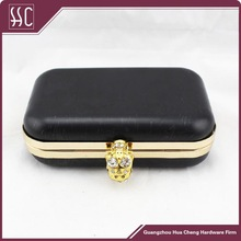 strong metal frame with solid box, factory direct sale clutch in Guangzhou,metal handbag hardware purse