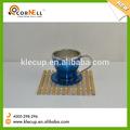 novo design em aço inoxidável e plástico mini caneca de café com pires de xícara de chá de