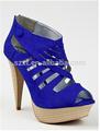 Sexy sola grossa plataforma senhoras de salto alto sapatos de camurça azul mulheres de couro vestir sapatos