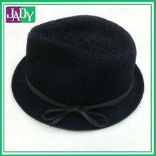Black wholesale crochet fedora hat 2014 with ribbon