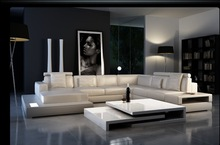 modern leather sofa set with functions in black and white color