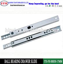 zinc plated 17mm mini ball bearing drawer slide