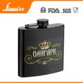 Alta cantidad de la categoría alimenticia LFGB 6 oz de transferencia de agua pintura de acero inoxidable jack daniels whisky frasco de la cadera