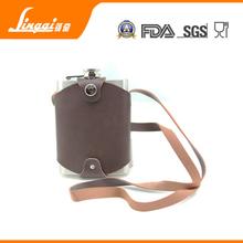 LFGB 8oz stainless steel vintage hiskey wine leather case hotgun cartridge hip flask