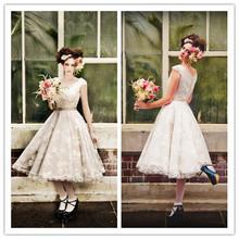 Gorgeous Vintage Lace Tea Length Wedding Dresses with Cap Sleeves