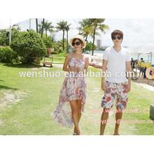 2014 New Korean Men and Women Lovers Pink Paisley Shorts Beach Pants