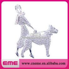 Elegant Fashion Women Walking the Dog Crystal Rhinestone Brooch Snow Pin