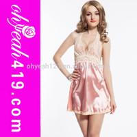 Pink fashion silk babydolls mature women sexy satin nighty