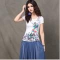 2014 estilo chinês mulheres camisas 100% t shirts de algodão com estampado de flores