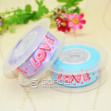 2014 wholesale Screen Ink & Purple and blue Foil Printing satin Ribbon