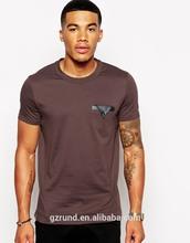T-Shirt With Leather Look Trim Pocket/custom designs tshirt/high fashion men clothing/model-cp388