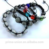 Fashionable shamballa style beads cord bracelet