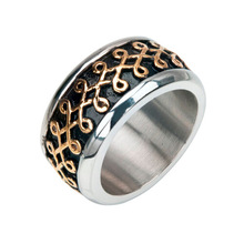 316L Oxidized Black and Gold Churn Ring