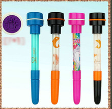 2014 hot sell it have writing,stamp and bubble effect, pen with stamp, self inking stamp