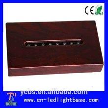 rectangular wooden 3d laser engraved crystal cube with led base