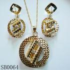 2014 Pakistan popular round shape gold plated inlaid small cz stones jewelry sets