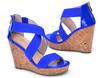 Bright colors women back zipper wedges sandal ladies high heel wedges wedding sandal women sexy wedge heels sandal