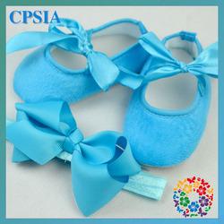 2015 Solid colors crib shoes baby shoes Grograin bow headband set