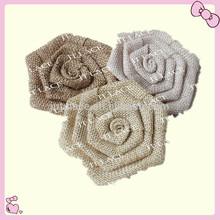 NEW!! linen flower for hair burlap flower hair accessory,burlap flower Hair Accessories