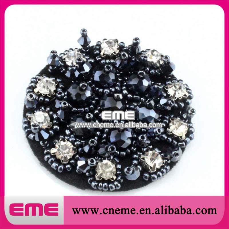 brilho de cristal preto bolo redondo forma moda strass flor sapato sapatos acessórios