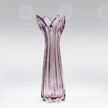 Handblown Purple Flower Shape Glass Vase