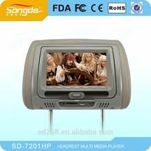 7 Headrest DVD with IR FM USB SD Zipper Cover