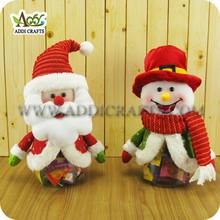 """10"""" Santa & Snowman Candy Jar for Christmas"""