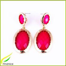 Rose Color Oval Shape Resin Stone Shiny Gold Alloy Pendant Earrings