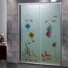 (895C) bathroom interior frosted glass shower panel
