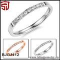 in acciaio inox intarsiato aaa cubic zirconia anello di nozze