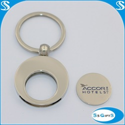Hot sale metal coin holder keychain round trolley coin for Shopping use