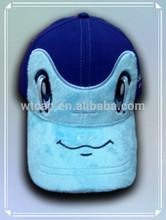 Baby Boy's Navy Blue baseball cap with plush brim embroidery cartoon pattern