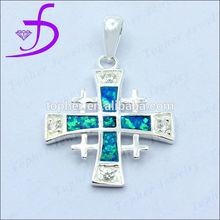 wholesale jewelry-925 silver cross pendant silver opal cross pendant