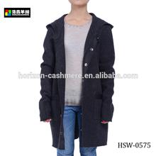 Fashion Hooded Wool Knitted Women Winter Coats