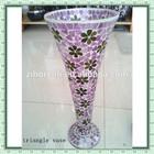 Decorative Glass Mosaic Home Interior Pink Colored Flower Patterned Unique Large Vase