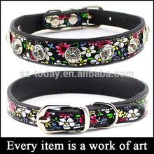(sz-dog 3) flowers printed dog collars,metal buckles for dog collars