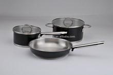 [BSCI Memeber] 5pcs set High Temperature/Ceramic coating stainless steel cookware pot and pan