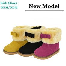 Little kids winter half snow boot fox fur collar outdoor warm shoes nude girls boots kids