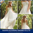 Ali-017 A Line Chiffon Sweetheart Ruffles Empire Waist Maternity Short Train Wedding Dress Beaded 2014 New Beach Bridal Gown