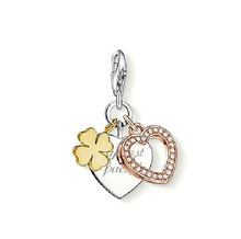 Rhinestone thomas design heart shape and four leaf clover charm set