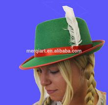 WOMEN'S BAVARIAN HAT GREEN TYROLEAN FELT WHITE FEATHER OKTOBERFEST BEER FESTIVAL