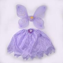 Hot sale girls dress yarn fairy butterfly wing/headband/wand/skirt sets