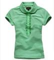 Commande en gros dames blanc vert à manches courtes dentelle polo t-shirt que votre propre marque vêtements