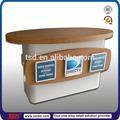Tsd-w159 diretamente da fábrica de madeira personalizado moderno balcão da loja de design/madeira venda tabela de balcão/laminado mdf balcão de serviço