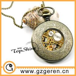 D00569o Low MOQ Vintage Bronze Skeleton Pendant Necklace Ladies Watch With Mechanical Movement