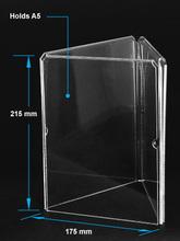 Clear acrylic A5 menu holder with three sides,acrylic menu holder,plastic menu holder
