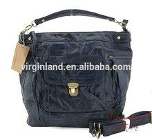 2015 New Arrival Fashion Black 100 Genuine Leather Men's Handbag with Long Shoulder Strap