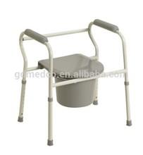 Hi-low adjustable steel & plastic commode chair for elderly CM001