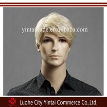 Natural Looking Light Blonde Short Side Part Gentleman Wig, Synthetic Hair Handsome Men Wig