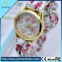 Popular korean fashion student watch lady flower cloth watch
